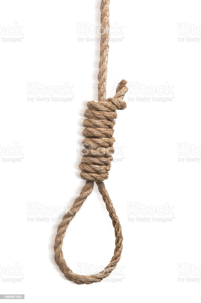Hangman's Noose Real Frayed Rope Motion Blur stock photo