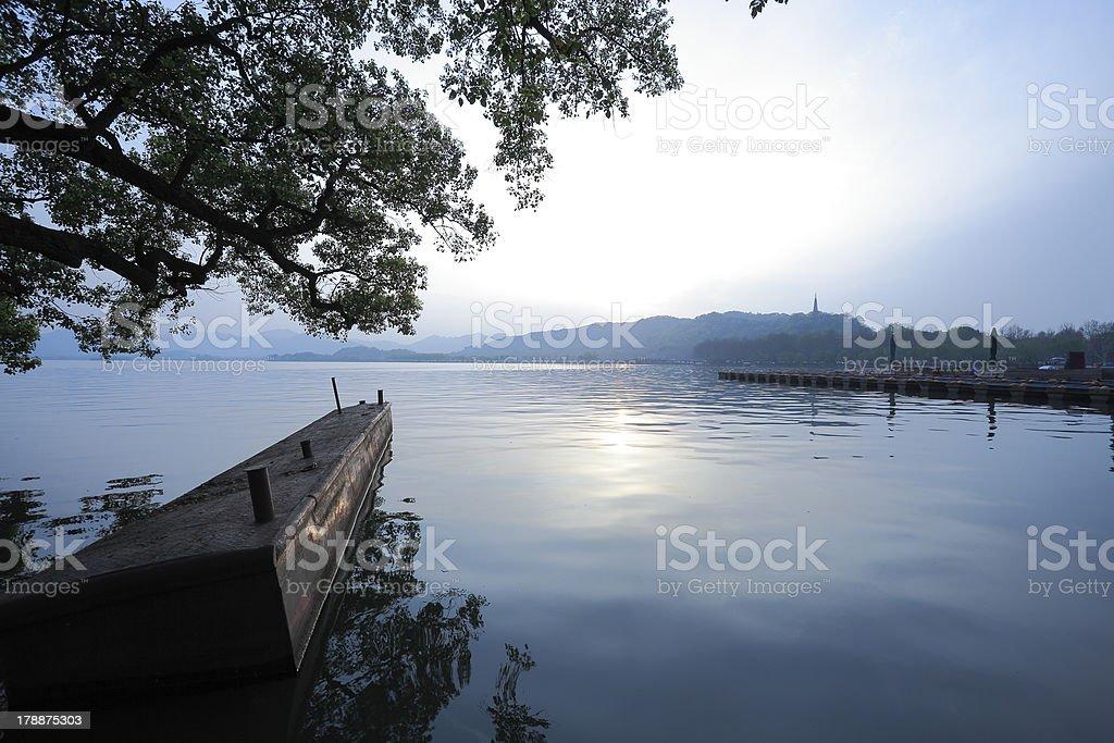 Hangzhou at sunset West Lake royalty-free stock photo