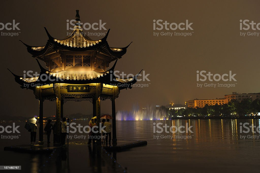 Hangzhou by night royalty-free stock photo