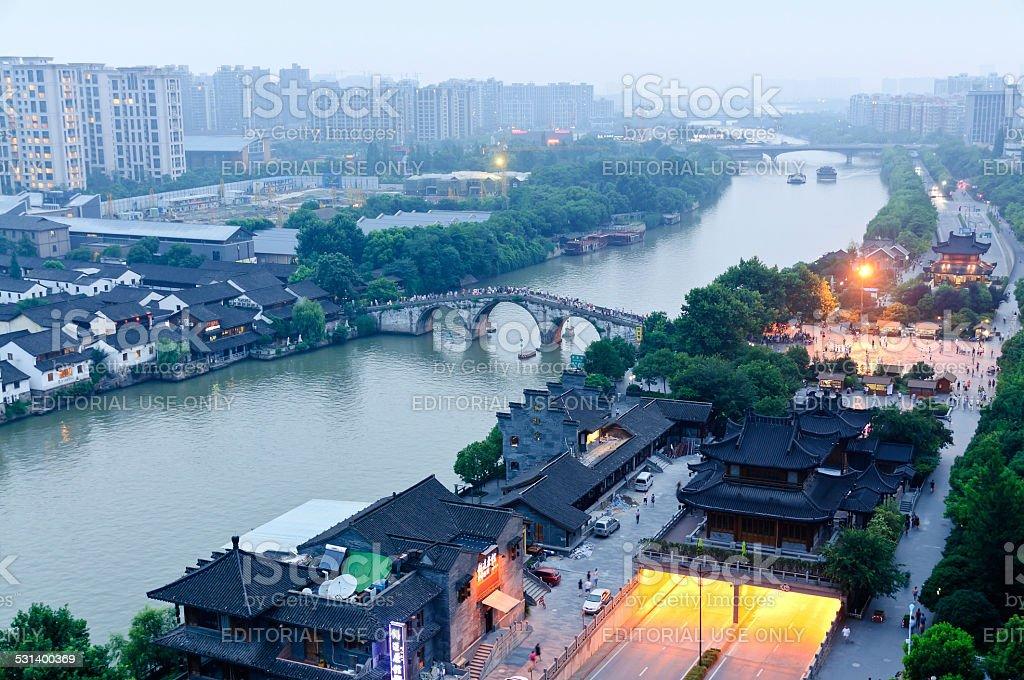 Hangzhou canal gongchen bridge at dusk stock photo
