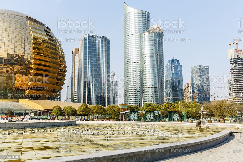 Hangzhou Central Business District landmark scenery,in Hangzhou,China stock photo