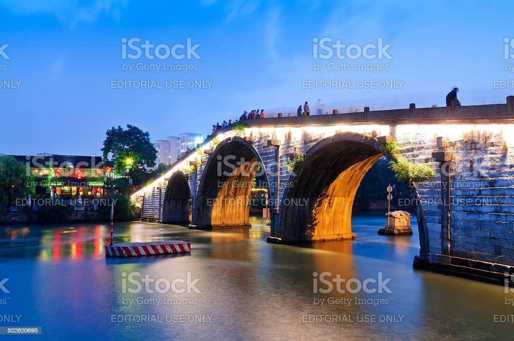 Hangzhou gongchen bridge at dusk the beauty scenery stock photo