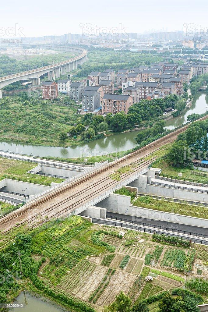 Hangzhou suburbs aerial view, in China stock photo