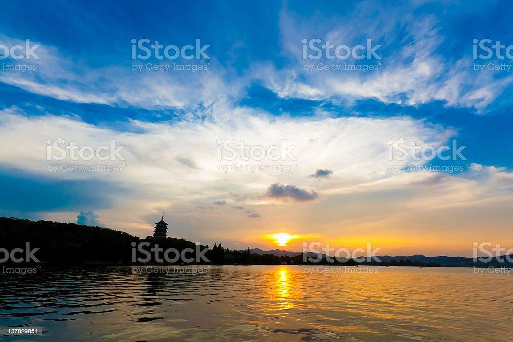 Hangzhou West Lake at sunset, China stock photo
