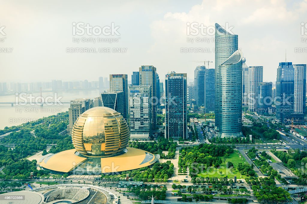 Hangzhou's central business district building scenery, in Hangzhou, China stock photo