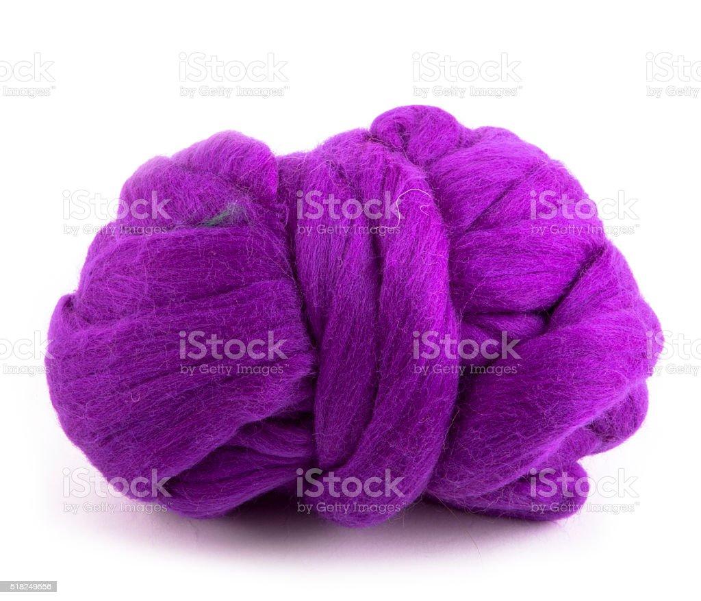 Hank merino wool purple color on a white background stock photo