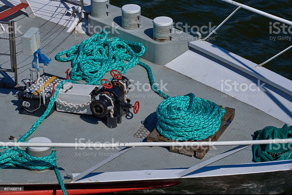 Hank mooring rope on the bow of the ship royalty-free stock photo