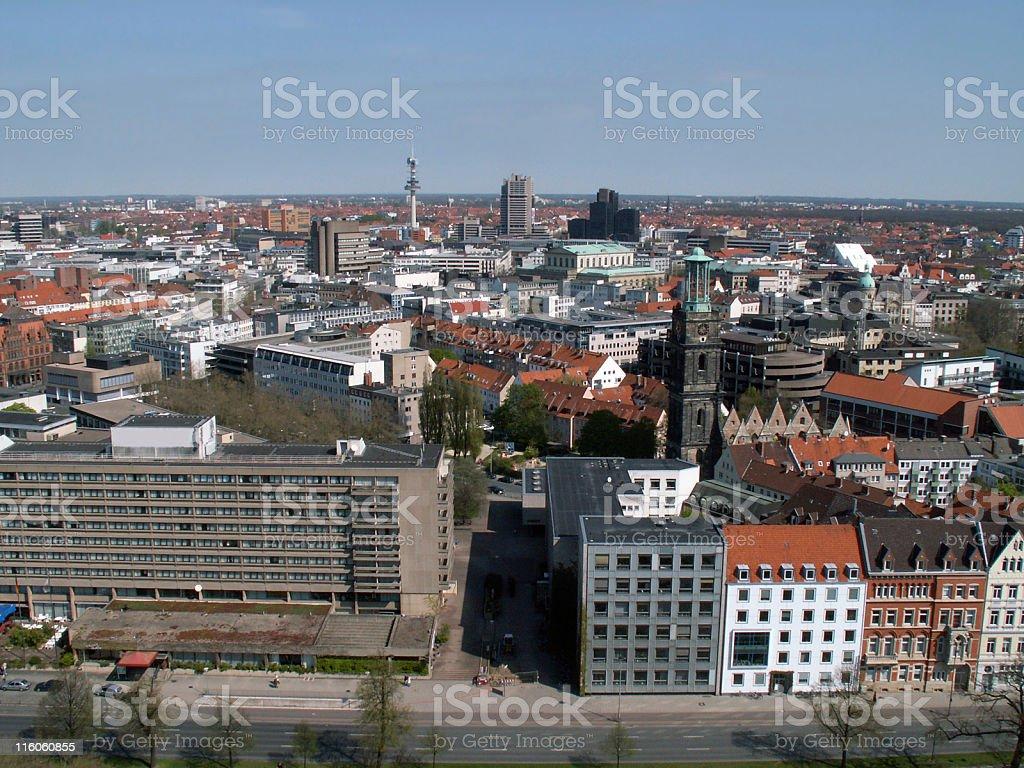 Hannover City gesehen vom Neuen Rathaus royalty-free stock photo