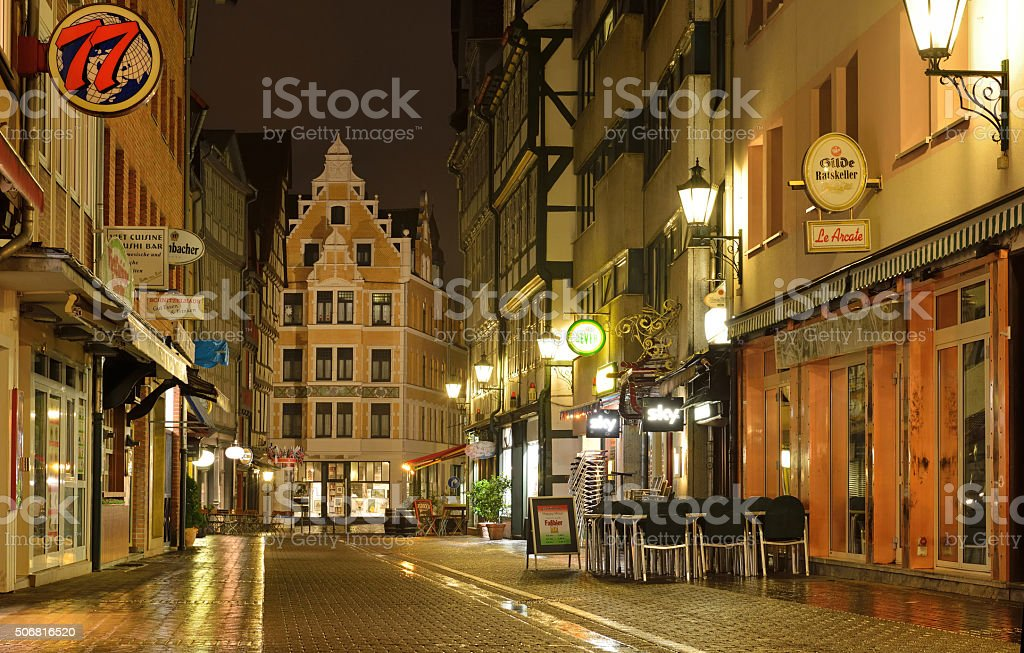 Hannover night street after rain stock photo