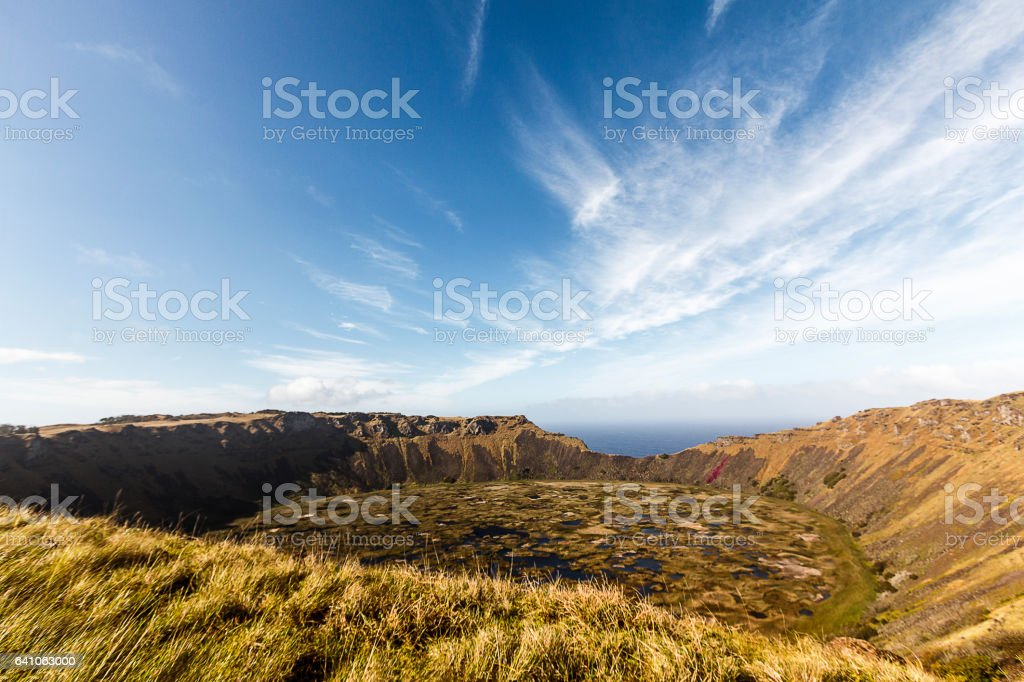 Hano Kau Volcano Crater in Easter Island, Chile stock photo