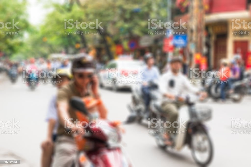 Hanoi city centre blur background stock photo