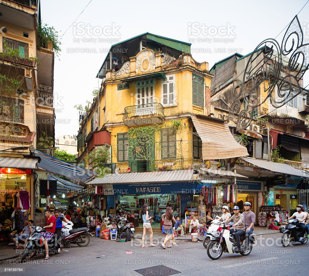 Hanoi Hang shopping district view late Spring afternoon stock photo