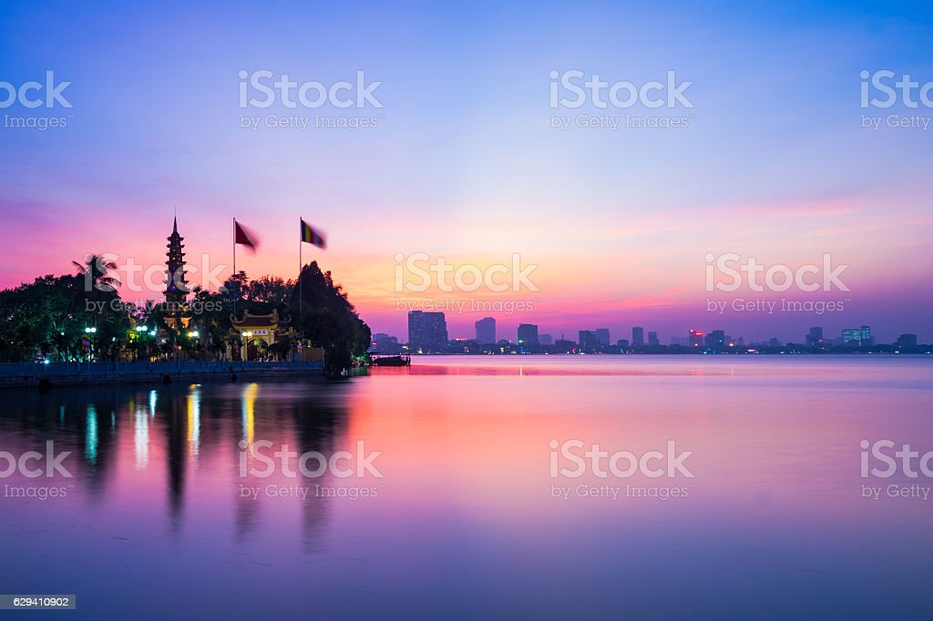 Hanoi sunset time stock photo