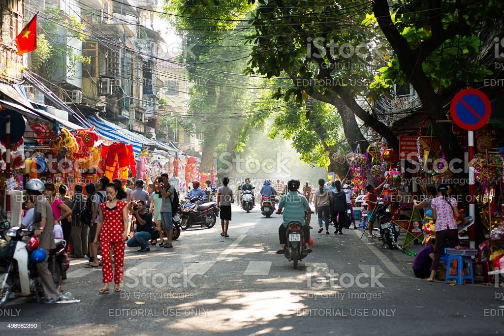 Hanoi town street in early morning. stock photo