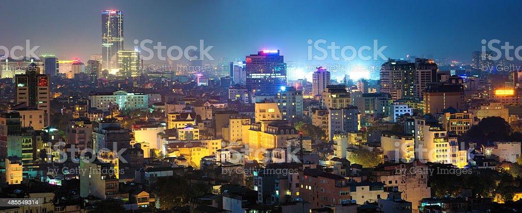 Hanoi Vietnam skyline panorama at night stock photo