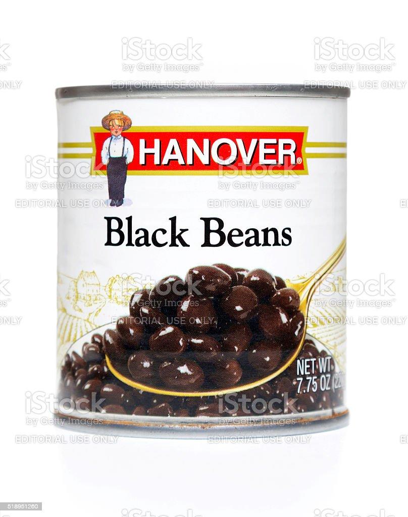 Hanover black beans can stock photo