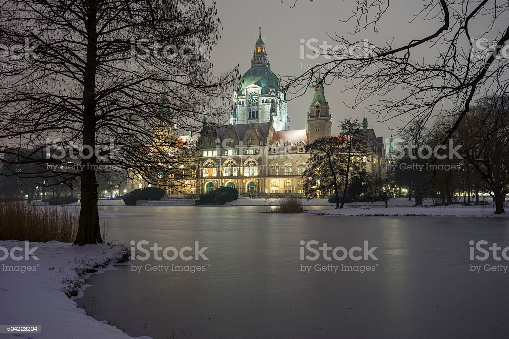 Rathaus Hannover in winter stock photo