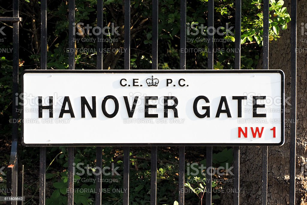 Hanover Gate road plate stock photo