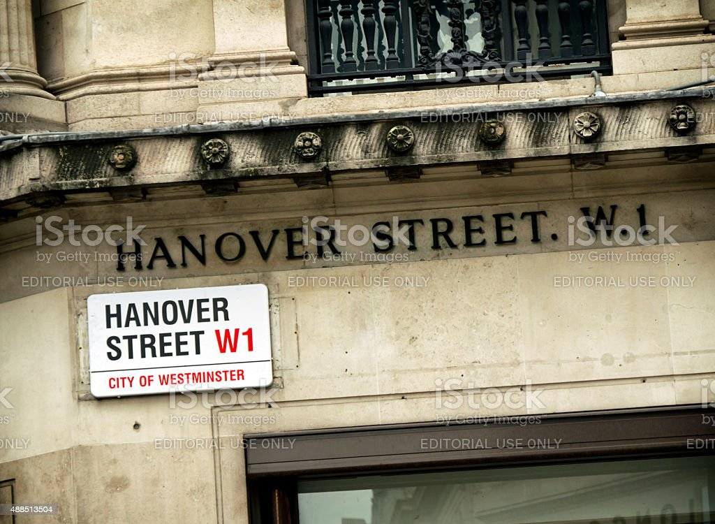 Hanover Street W1 - two signs stock photo