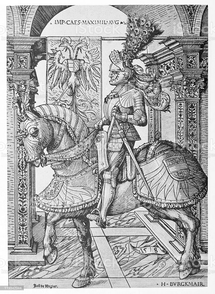 Hans Burgkmair, Equestrian Portrait of the Emperor Maximilian I stock photo