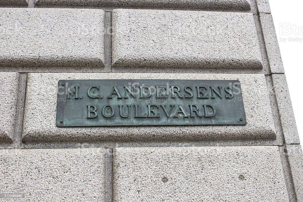 Hans Christian Andersen Boulevard Sign stock photo