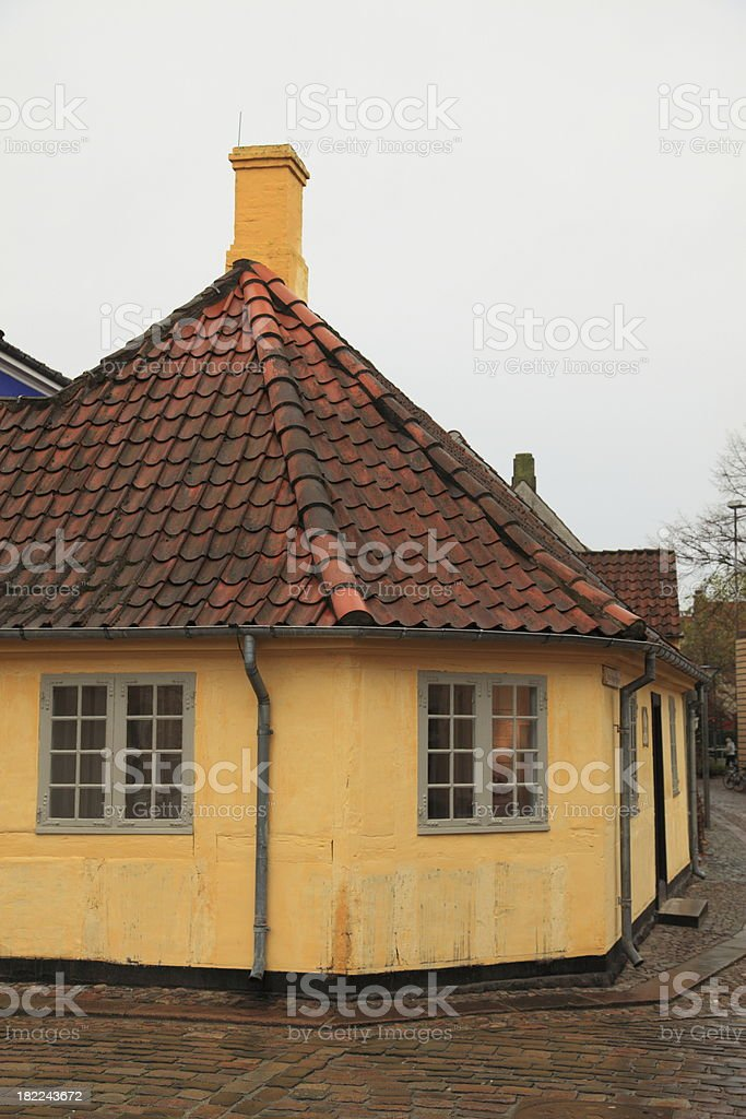 Hans Christian Andersen House, Odense on a rainy day royalty-free stock photo