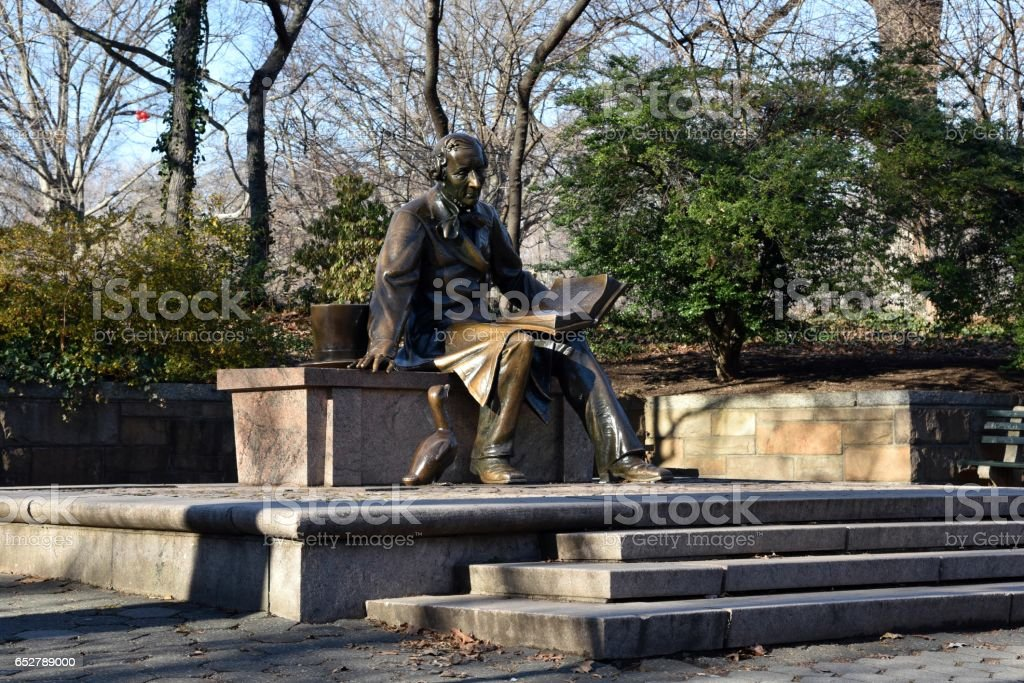 Hans Christian Andersen Statue in Central Park stock photo