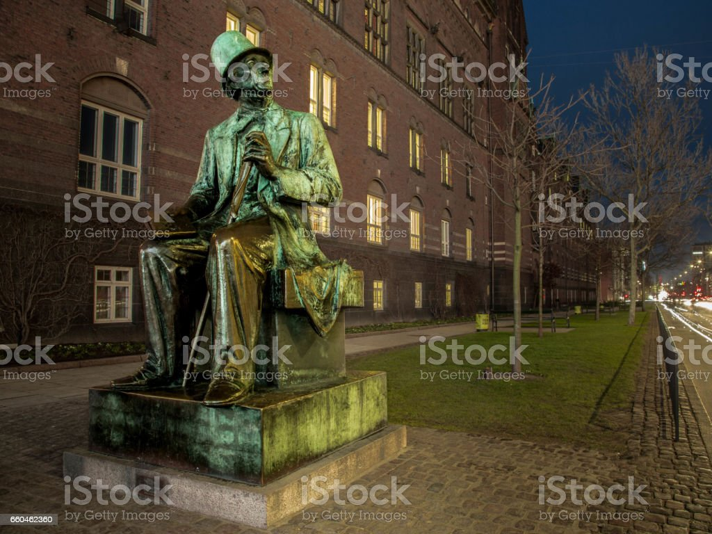 Hans Christian Andersen statue next to the Copenhagen Town Hall stock photo