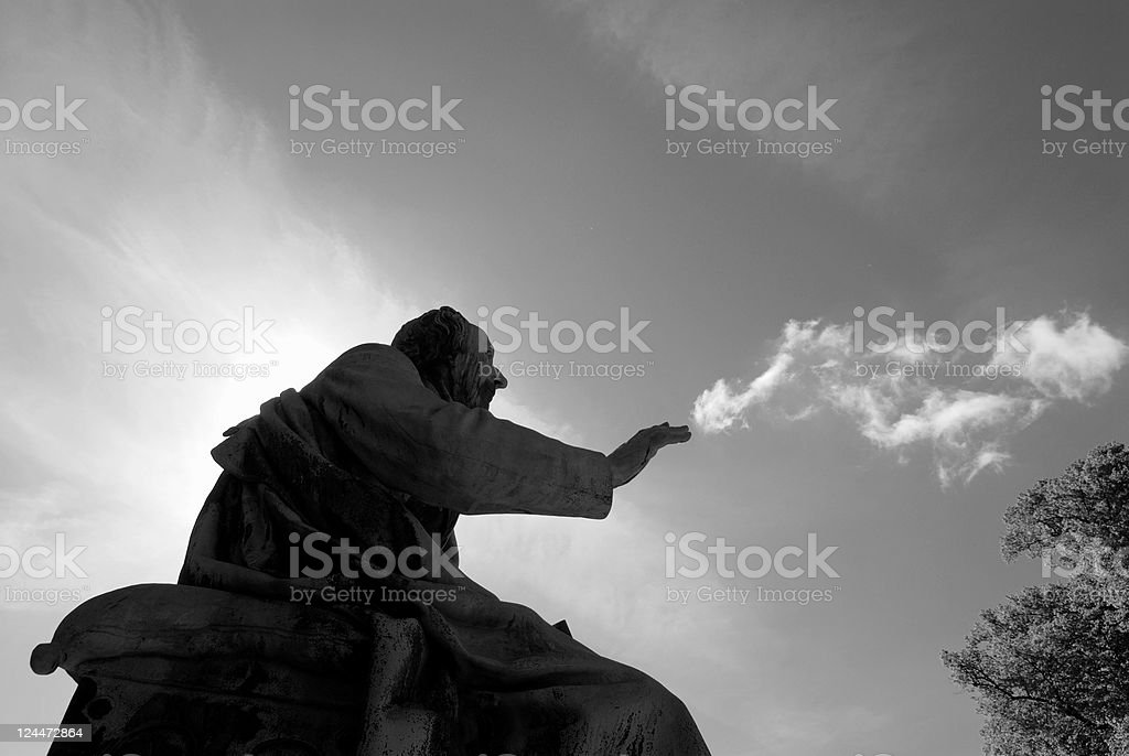Hans Christian Andersen telling his stories... stock photo
