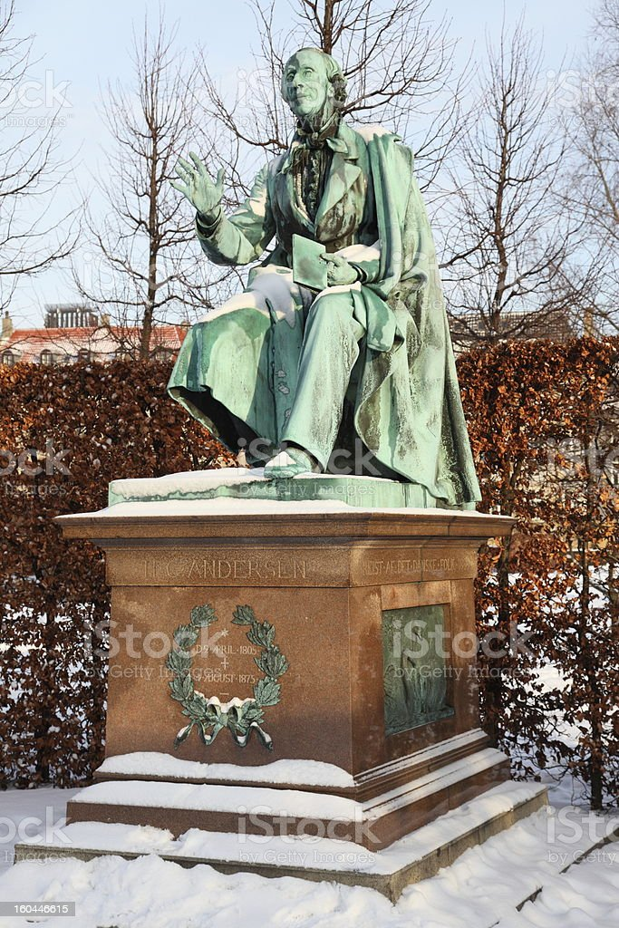 Hans Christian Andersen world famous poet at winter royalty-free stock photo
