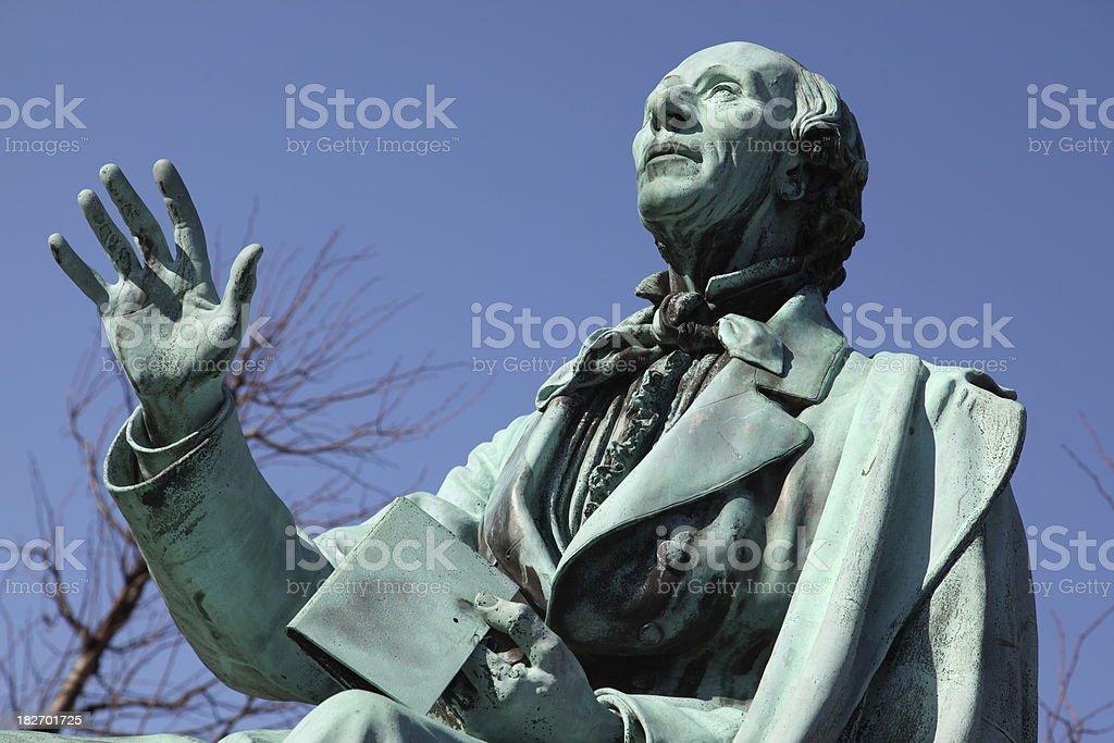 Hans Christian Andersen world famous poet in Kongens Have stock photo