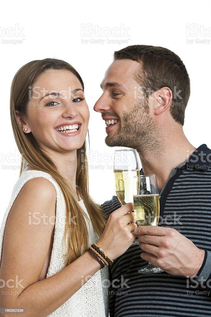 couple Hansome faire un toast au champagne. photo libre de droits