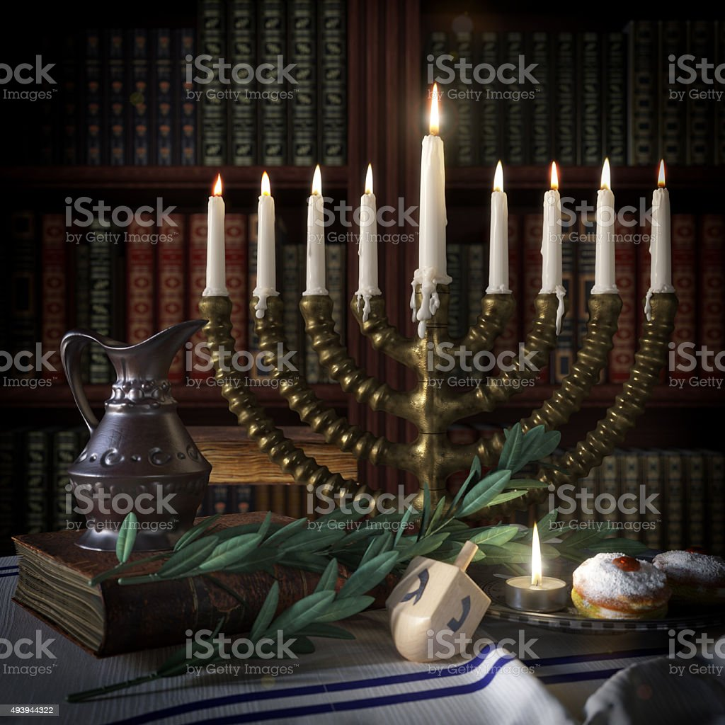 hanukkah background with candles, donuts, spinning top and old books stock photo
