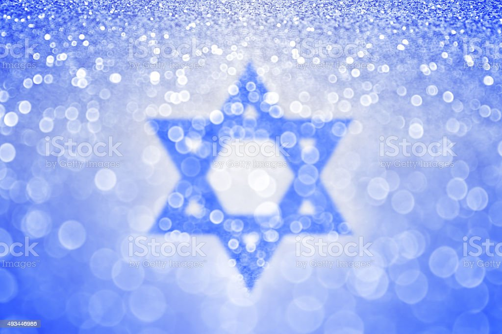 Hanukkah Blue Jewish Star of David Background stock photo