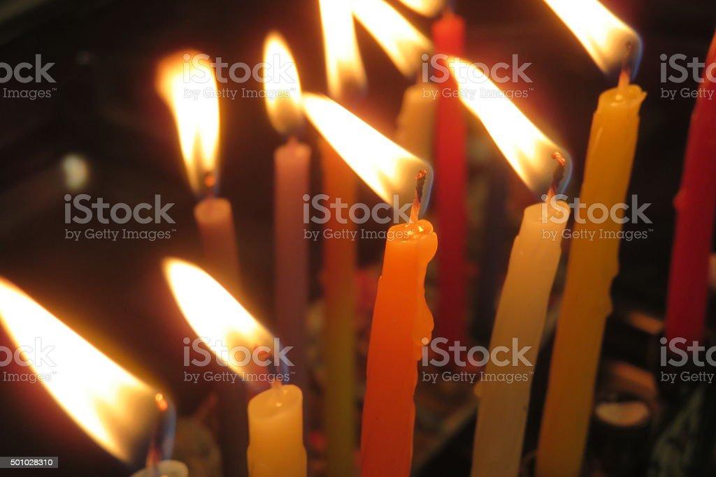 Hanukkah candles close-up stock photo
