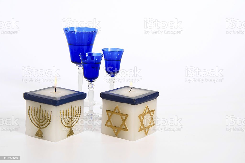 Hanukkah Candles wine Jewish Holidays royalty-free stock photo