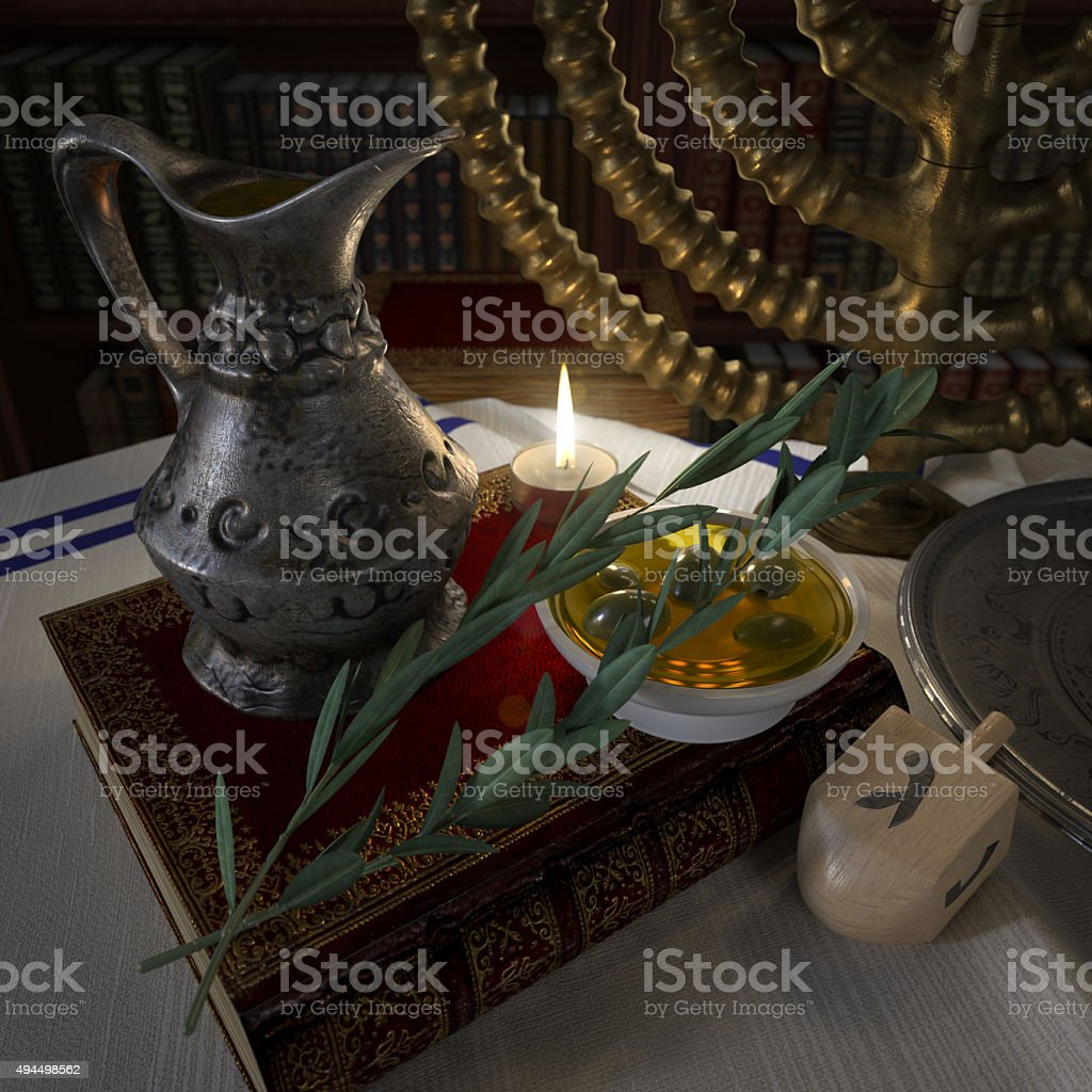 hanukkah close up with candles, old books, spinning top stock photo