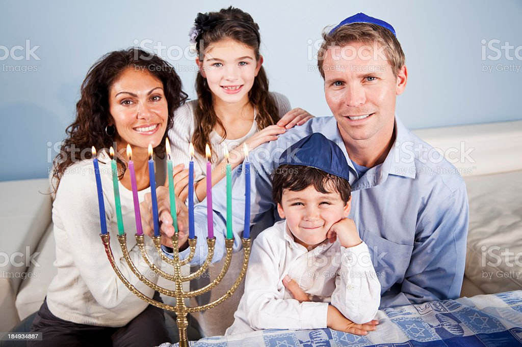 Hanukkah family portrait stock photo