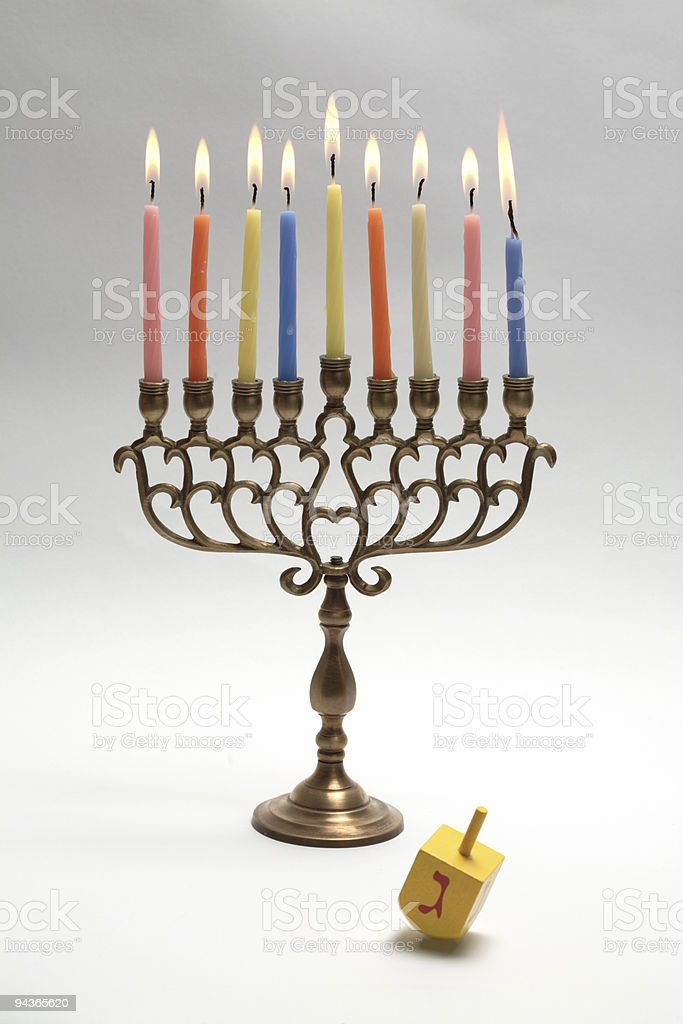 Hanukkah Menora and dreidel royalty-free stock photo
