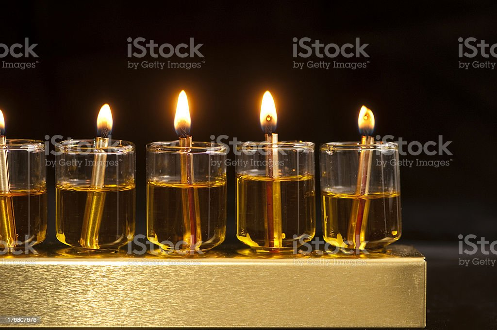 Hanukkah Oil Menorah royalty-free stock photo