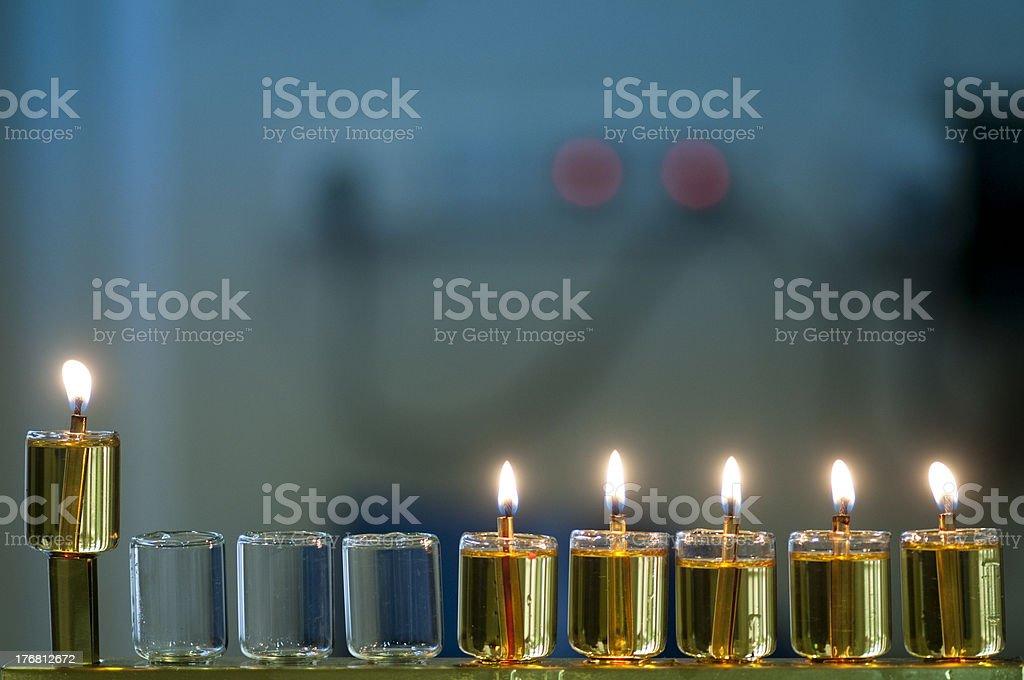 Hanukkah Oil Menorah stock photo