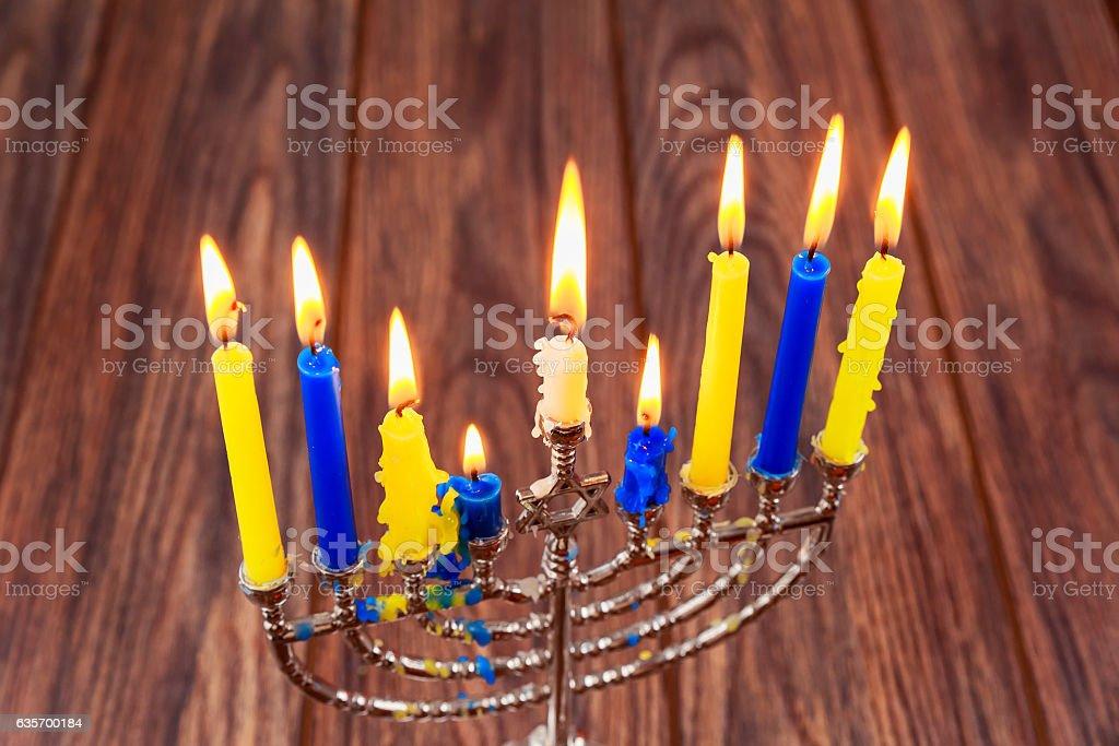 Hanukkah, the Jewish Festival of Lights  menorah candles  holidays stock photo