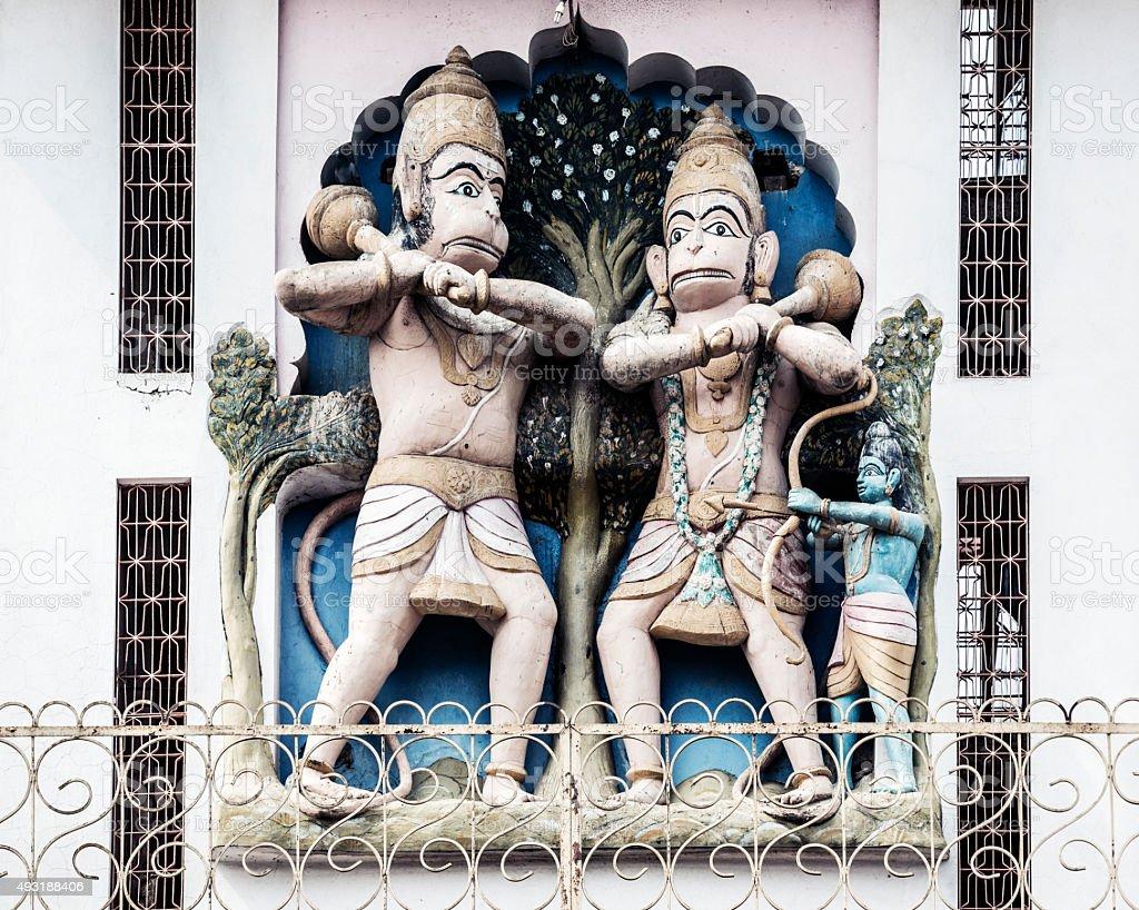 Hanuman God representation in tower in Pushkar India stock photo