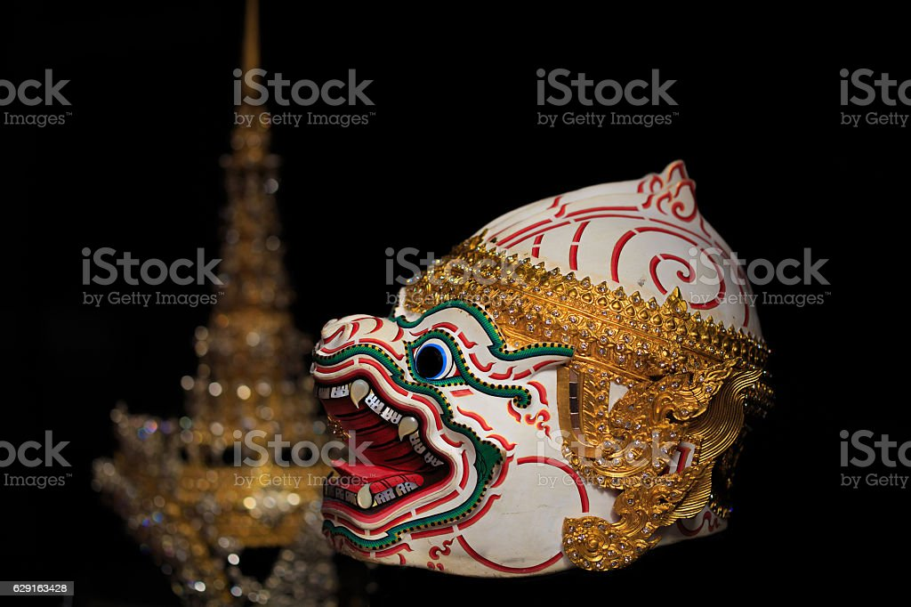 Hanuman mask in dark. stock photo