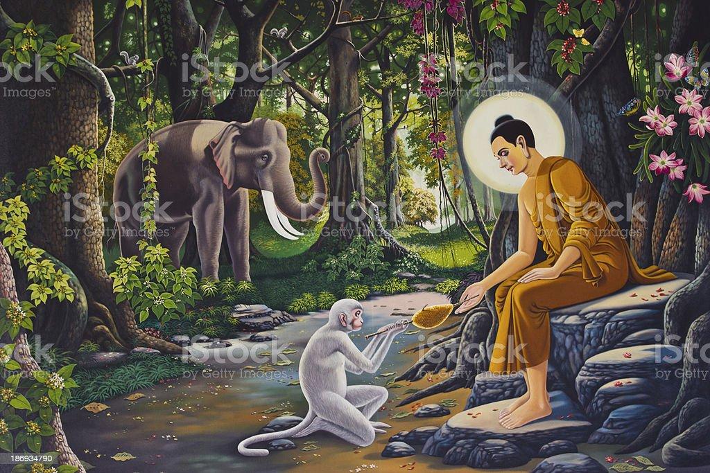 hanuman painting on Temple royalty-free stock photo