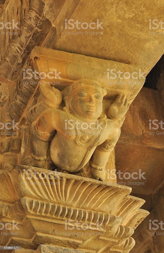 Hanuman supports the temple roof royalty-free stock photo