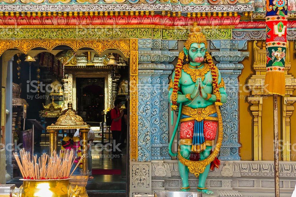 Hanuman's statue. Sri Krishnan Temple, Singapore stock photo