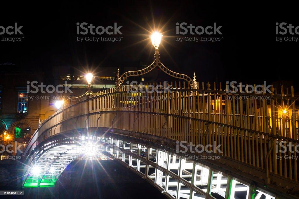 Ha'penny Bridge at night stock photo