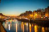 Ha'penny Bridge Dublin at dusk over the river Liffey, Dublin, Ireland.