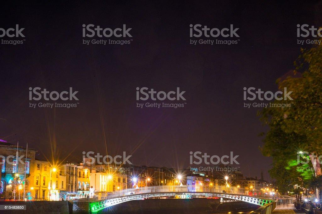 Ha'penny Bridge, Dublin, Ireland. stock photo
